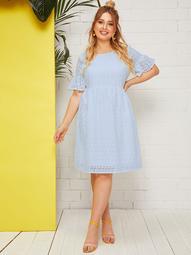 Plus Flounce Sleeve Schiffy Dress