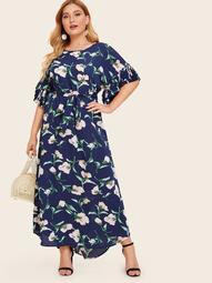 Plus Layered Pleated Cuff Dip Hem Floral Print Dress