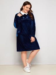 Plus Contrast Collar Embroidered Velvet Dress