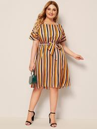 Plus Striped Multicolor Belted Dress