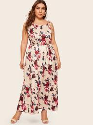 Plus Floral Print Knot Cami Dress