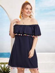 Plus Contrast Pom Pom Ruffle Trim Bardot Dress