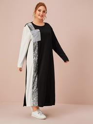 Plus Contrast Sequin Panel Colorblock Slit Hem Dress