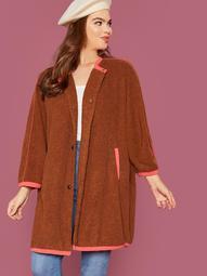 Plus Single Breasted Contrast Binding Teddy Coat