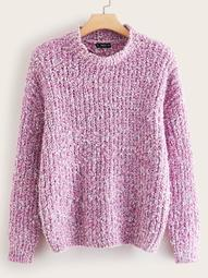 Plus Mock-neck Chenille Knit Jumper