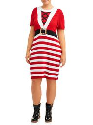 No Boundaries Juniors' Plus Size Holiday Sweater Dress