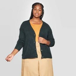 Women's Plus Size Long Sleeve Open Layering Button Front Cardigan - Ava & Viv™