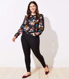 LOFT Plus Coated Slim Pocket Skinny Jeans in Black