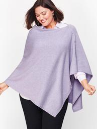 Plus Size Cashmere Asymmetric Button Poncho