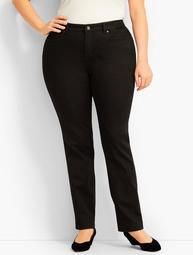 Plus Size High Waist Straight-Leg Jeans -Curvy Fit - Black