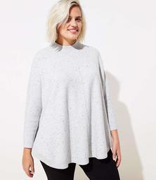 LOFT Plus Flecked Mock Neck Poncho Sweater