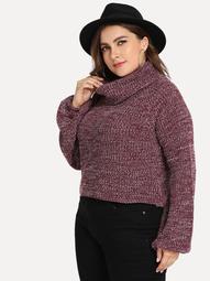 Plus Turtle Neck Lantern Sleeve Marled Sweater