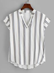Plus Dip Hem Striped V-neck Blouse