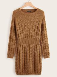 Plus Raglan Sleeve Cable Knit Sweater Dress
