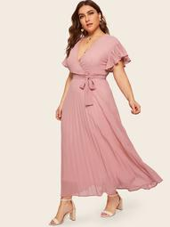 Plus Surplice Front Pleated Dress