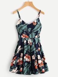 Plus Floral & Tropical Print Cami Dress
