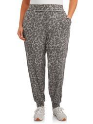 Como Blu Womens Plus Size Athleisure Thermal Leopard Joggers