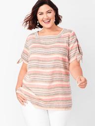 Square-Neck Linen Top - Stripe