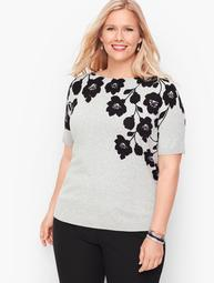 Bateau Neck Sweater Topper - Floral