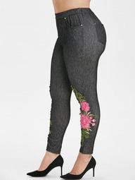 Floral Applique High Waisted Pockets Plus Size Skinny Pants