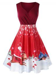 Plus Size Christmas Printed Vintage 1950s Dress