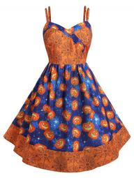 Plus Size Pumpkin Print Halloween Vintage 50s Dress