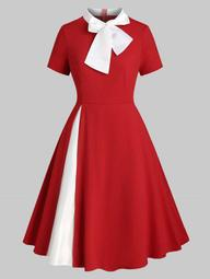Plus Size Bowknot Tie Christmas Vintage Dress