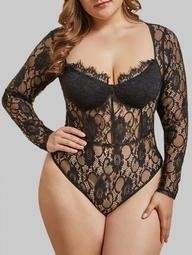 Lingerie Balconette Cup Eyelash Lace Plus Size Teddy
