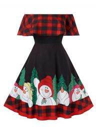 Plus Size Plaid Off Shoulder Christmas Printed Dress