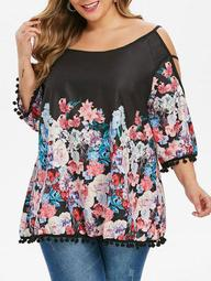 Plus Size Ladder Cut Out Floral Print Blouse