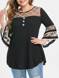 Plus Size Grid Mesh Insert Mock Button Flare Sleeve T-shirt