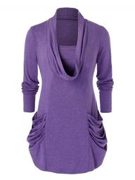 Plus Size Long Sleeve Solid Color Tee