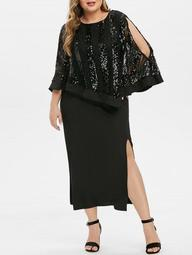 Plus Size Sequins High Slit Cape Party Dress