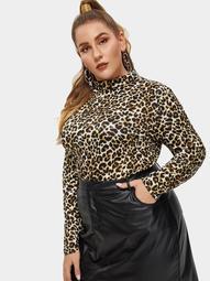 Plus Turtleneck Leopard Print Top