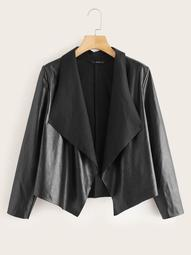 Plus Draped Collar Open Front Faux Leather Jacket