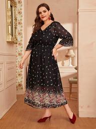 Plus Ditsy Floral Flounce Sleeve Chiffon Dress