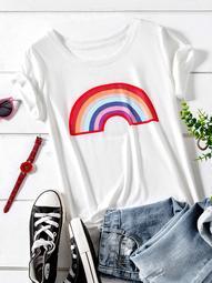 Plus Rainbow Print Tee