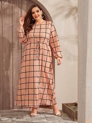 Plus Drawstring Waist Grid Maxi Dress