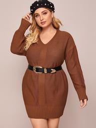 Plus V Neck Drop Shoulder Sweater Dress Without Belt