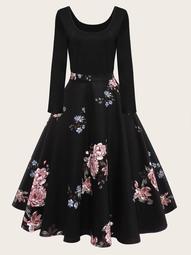 Plus Floral Print Scoop Neck Dress