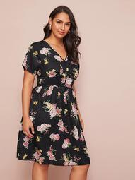 Plus Floral Print Button Front A-line Dress