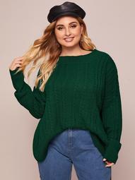 Plus Drop Shoulder Cable Knit Oversized Sweater
