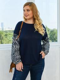 Plus Waffle Knit Leopard Print Curved Hem Sweater