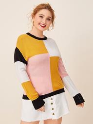 Plus Drop Shoulder Color-block Sweater