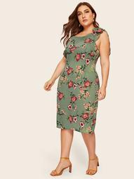 Plus Large Floral Print Ruffle Trim Asymmetrical Neck Dress
