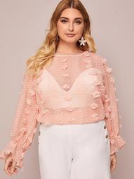Plus 3D Applique Ruffle Cuff Sheer Top Without Bra