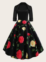 Plus Floral Print Ball Gown Dress