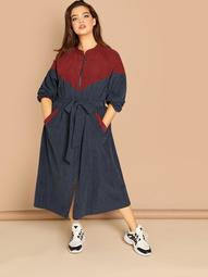 Plus O-Ring Zip Up Tie Waist Colorblock Coat