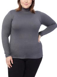 360Air Women's Plus Size Active Cozy Heat Mock Neck Base Layer Long Sleeve Top