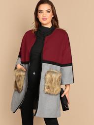 Plus Open Front Color-block Faux Fur Pocket Coat